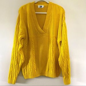 Vintage Evan Picone Oversized Yellow Chunky Knit V-Neck Sweater